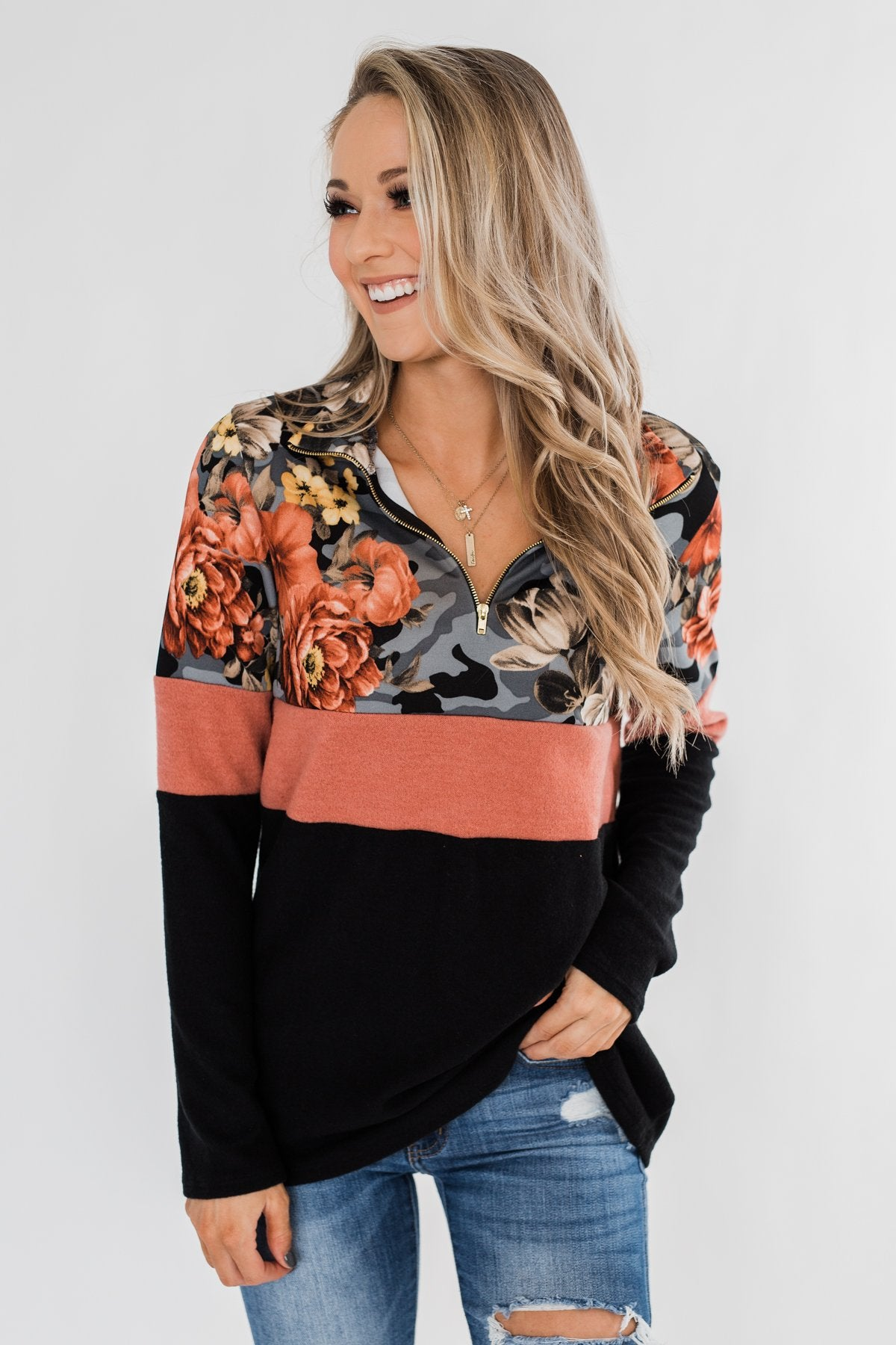 Never Ending Love Quarter Zip Pullover- Black, Camo, & Floral