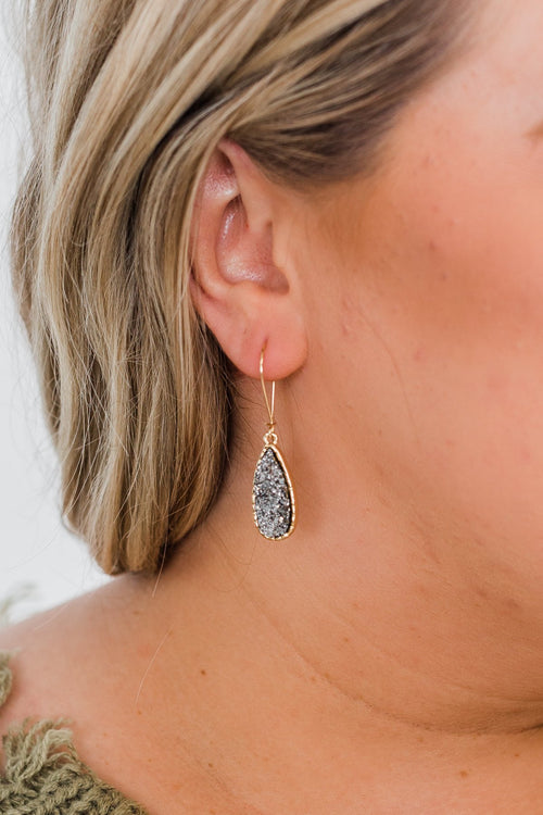 Teardrop Crystal Earrings- Charcoal
