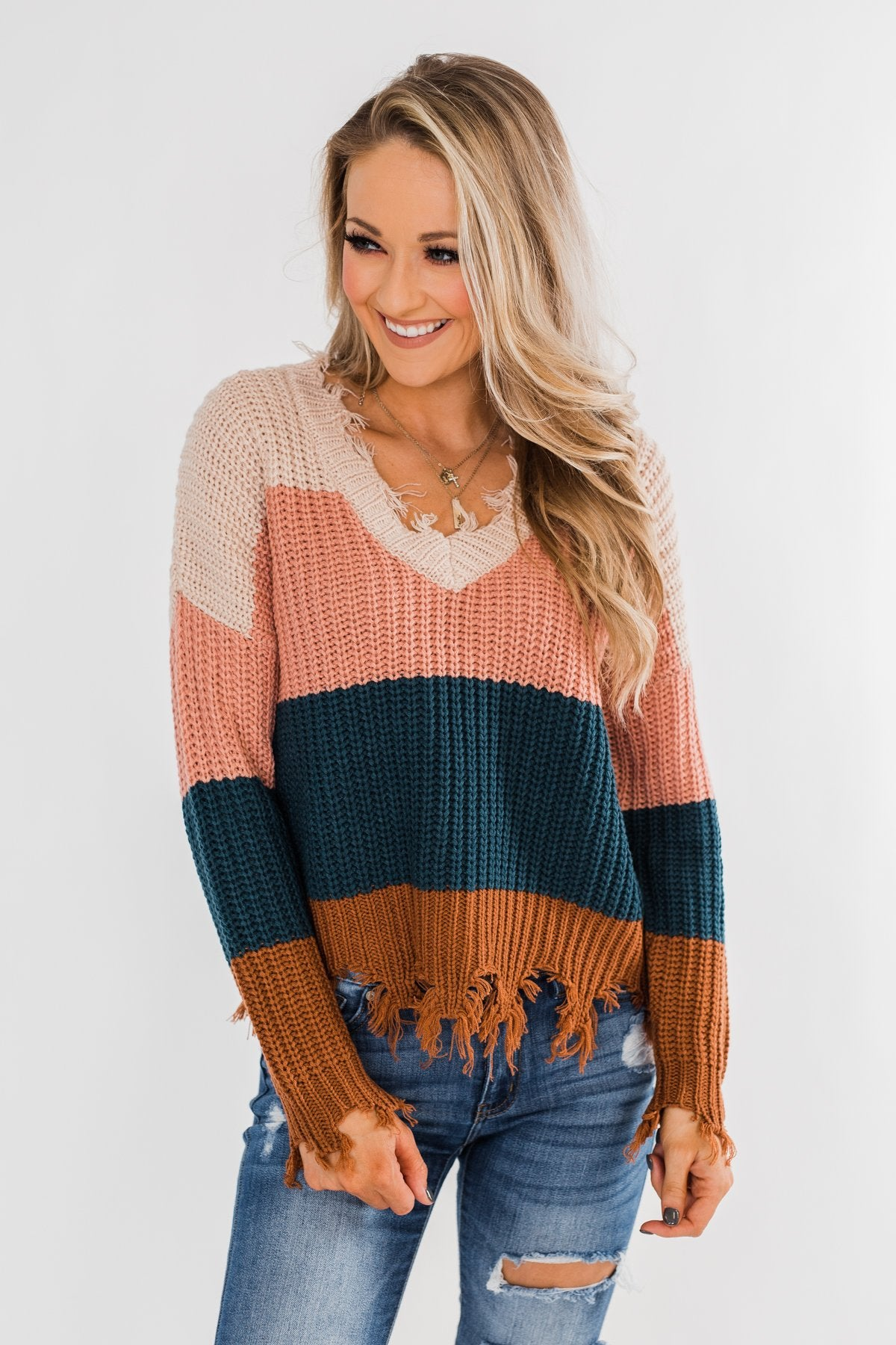 Warm & Cozy Distressed Color Block Sweater- Dark Teal Tones