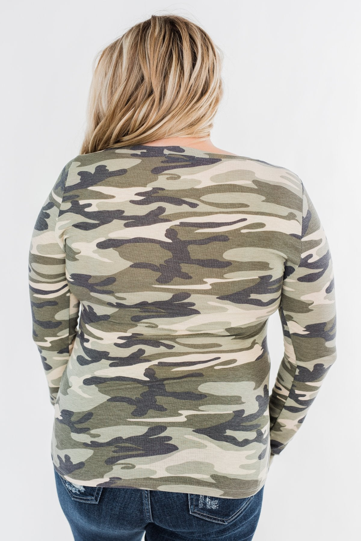 Sequin Pocket Long Sleeve Top- Camo