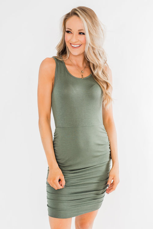 Simple & Chic Cinched Fitted Dress- Olive