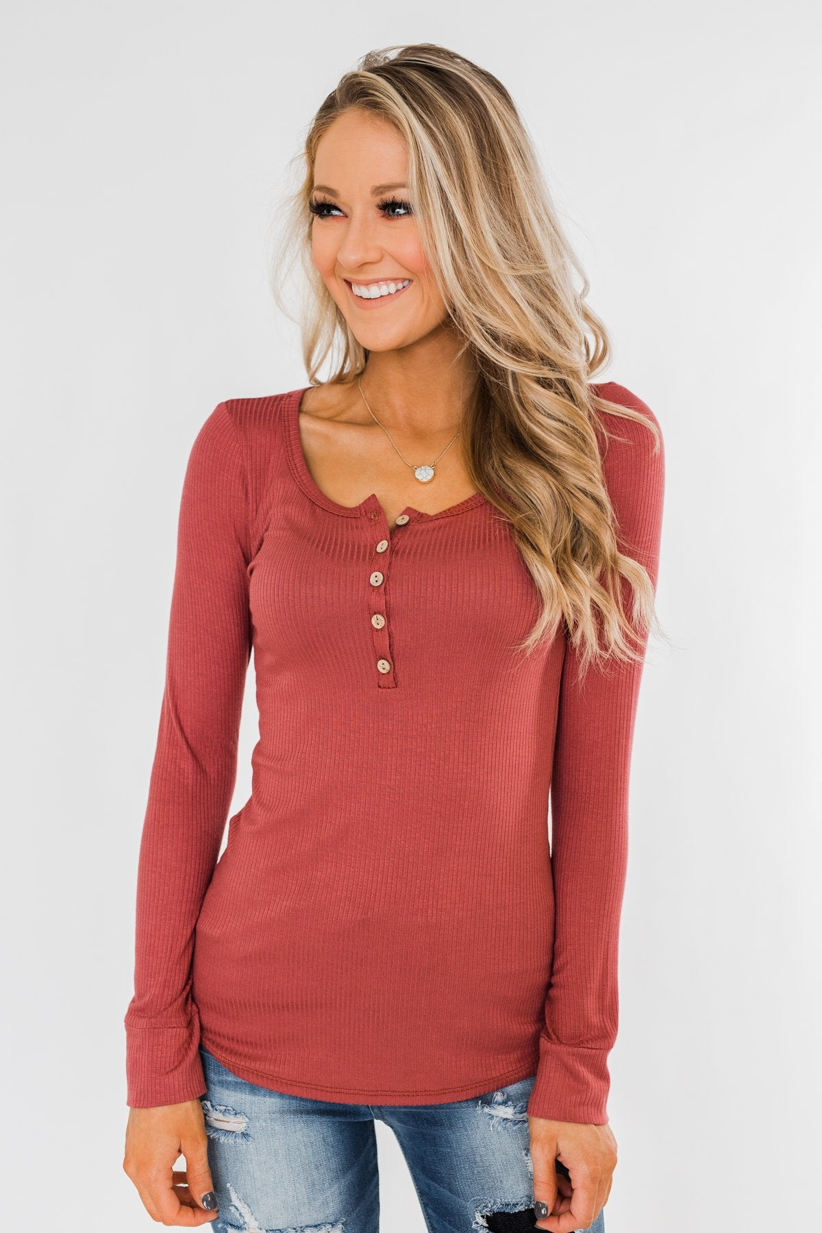 Essential 5-Button Henley Top- Pale Brick