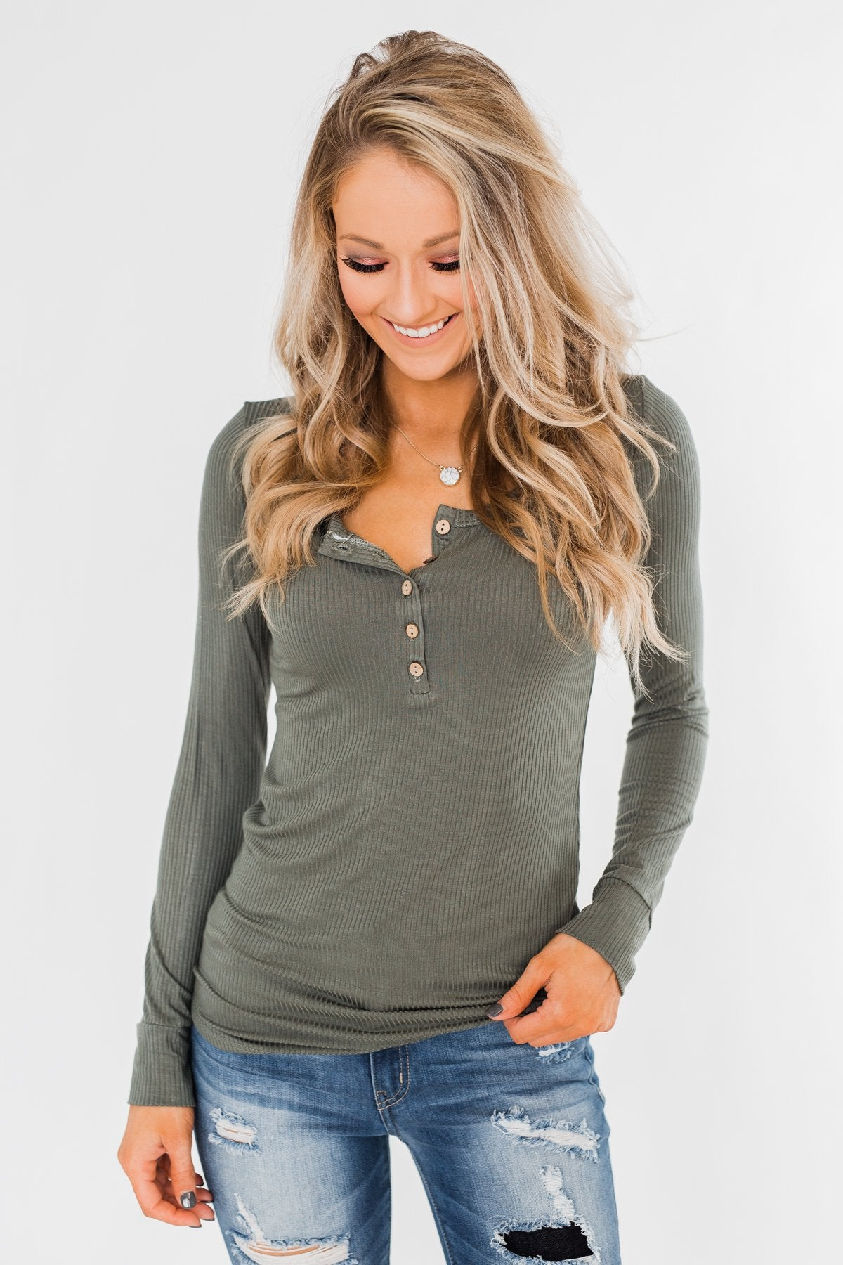Essential 5-Button Henley Top- Sage