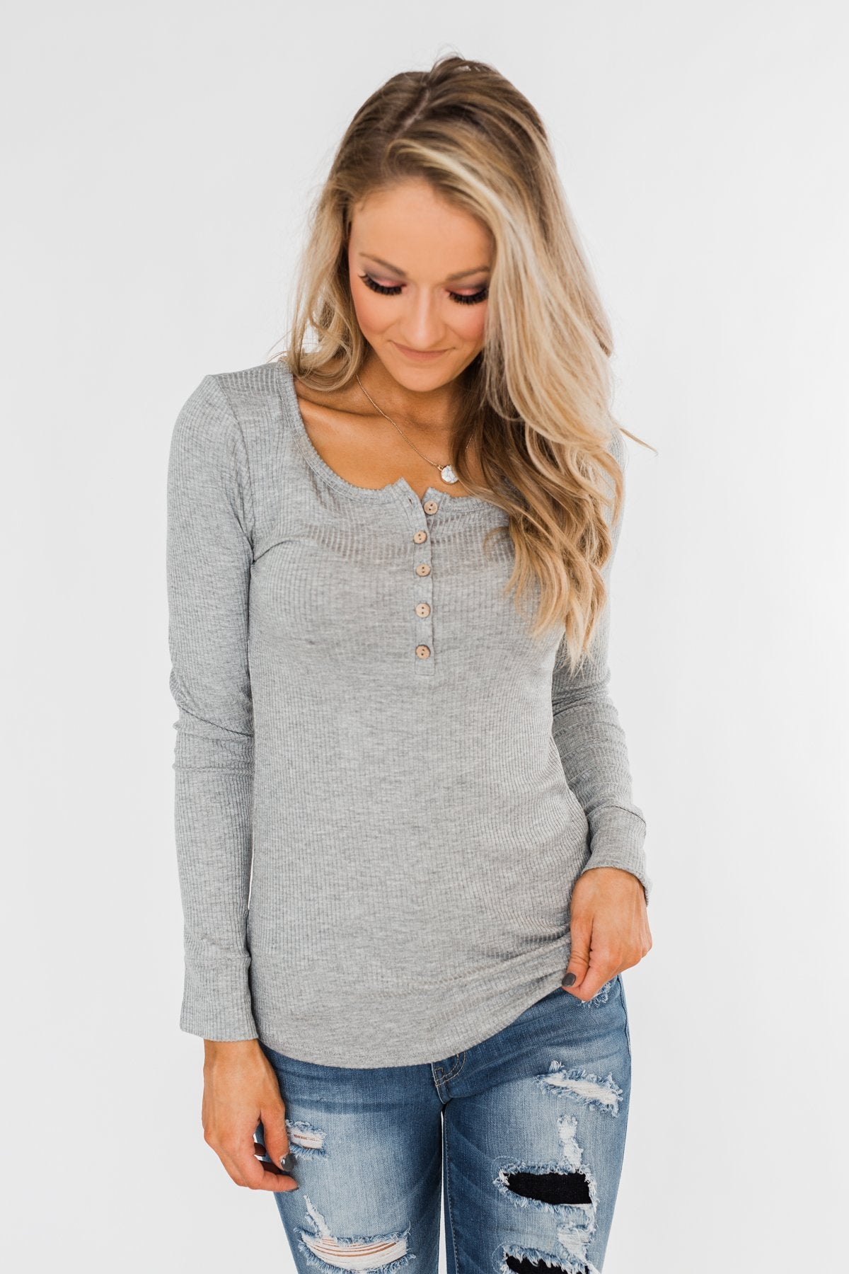 Essential 5-Button Henley Top- Heather Grey