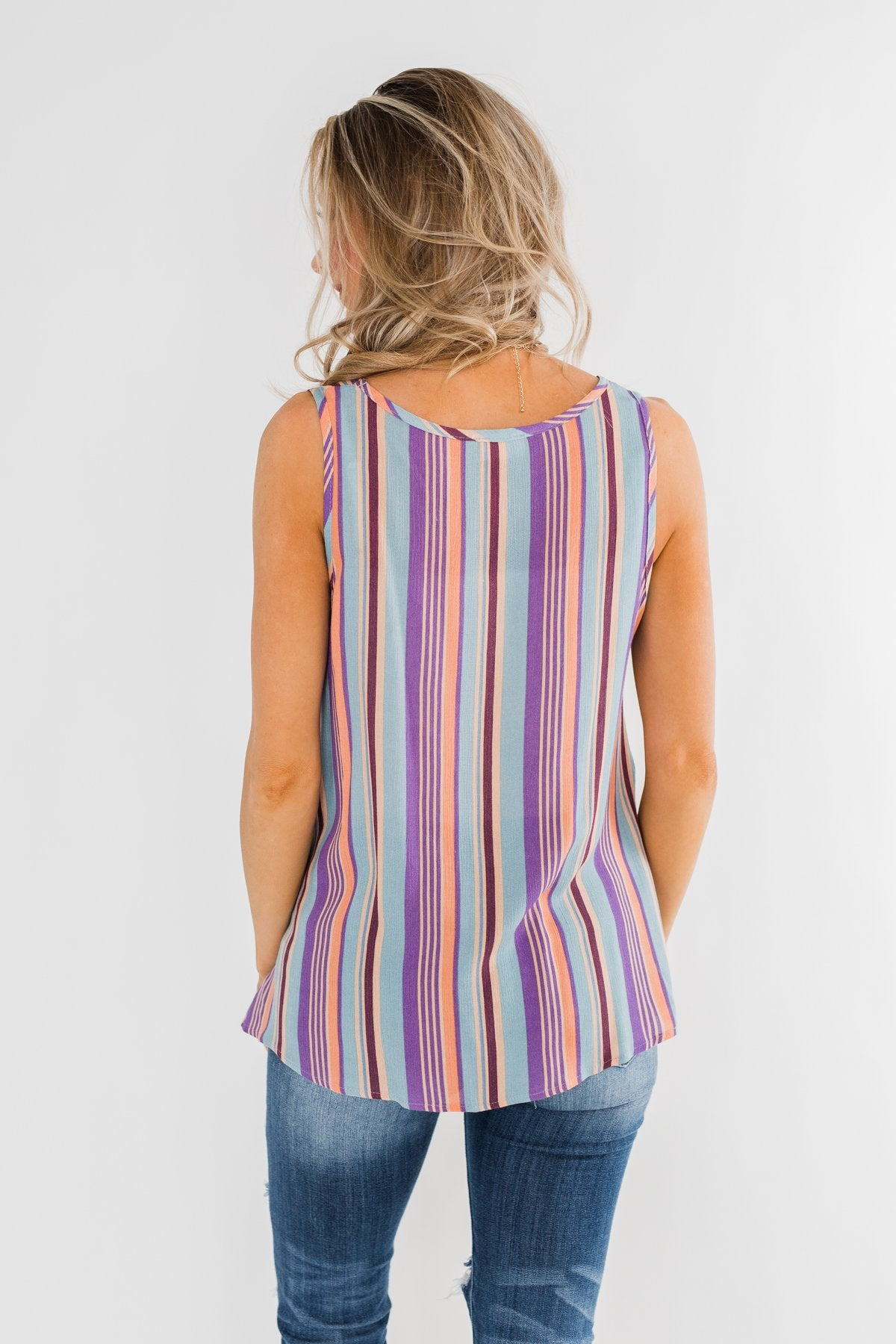 Sounds Good To Me Striped Tank Top- Light Blue & Orange Tones