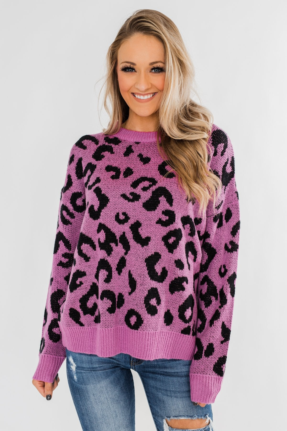 Lead Me On Round Neck Knit Sweater- Purple