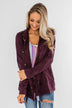 Feeling Free Drawstring Jacket- Eggplant