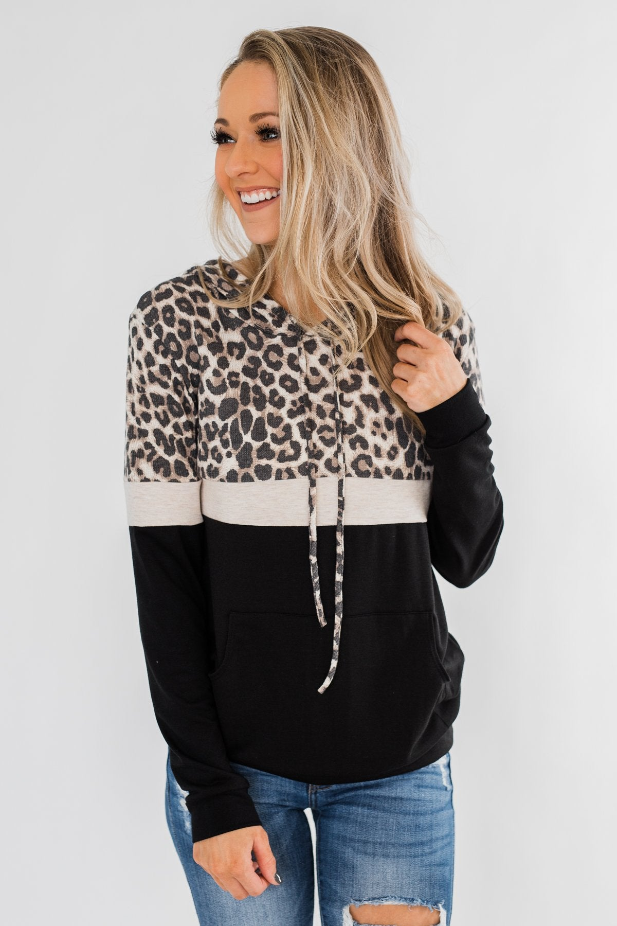 Into the Jungle Color Block Hoodie- Oatmeal & Black