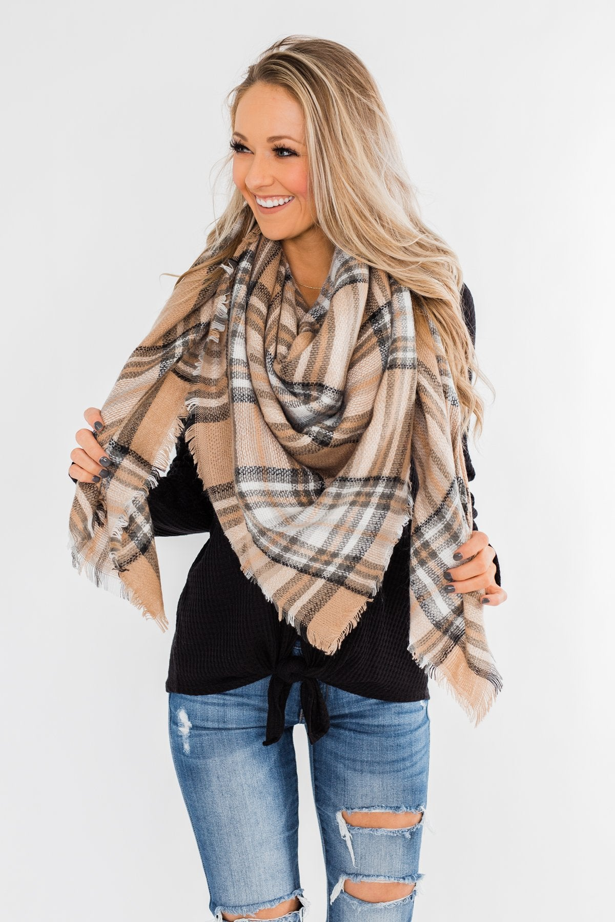 Soft & Cozy Blanket Scarf- Beige, Olive, & Ivory