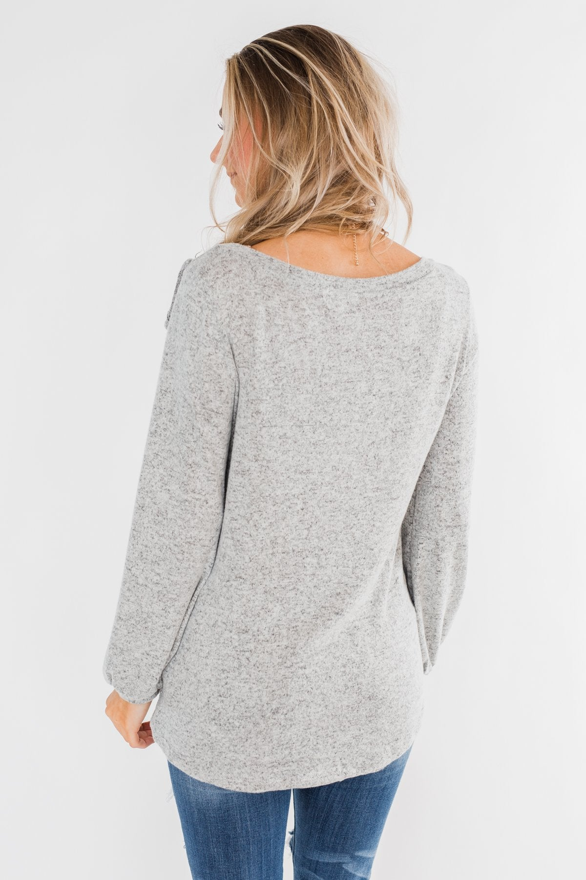 Feeling Brand New Ruffle Top- Heather Grey