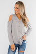 Take A Hint Cold Shoulder Thermal Top- Grey