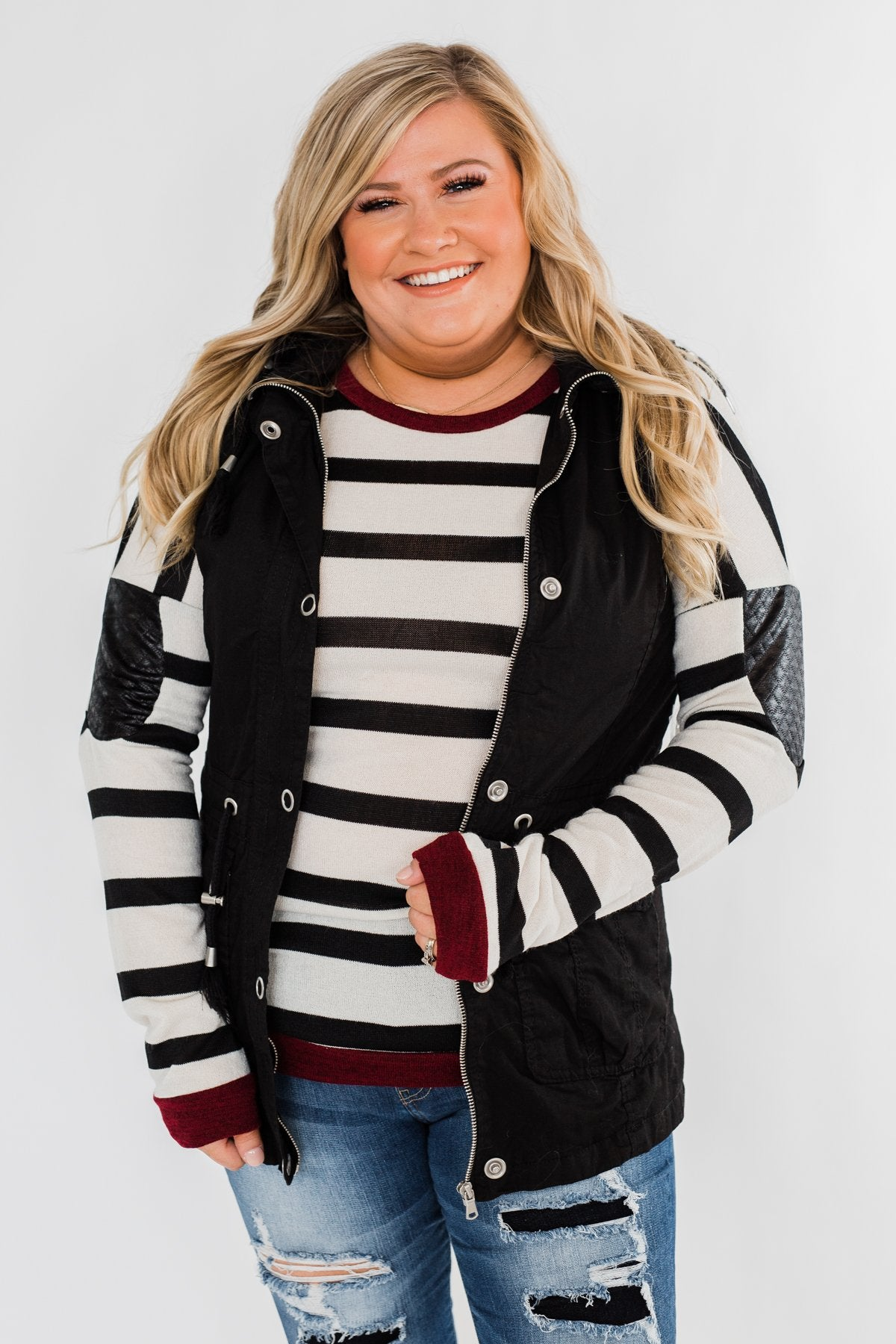 You Got it Bad Striped Top- Deep Red