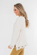 Cute & Cozy Frayed Knit Sweater- Light Cream