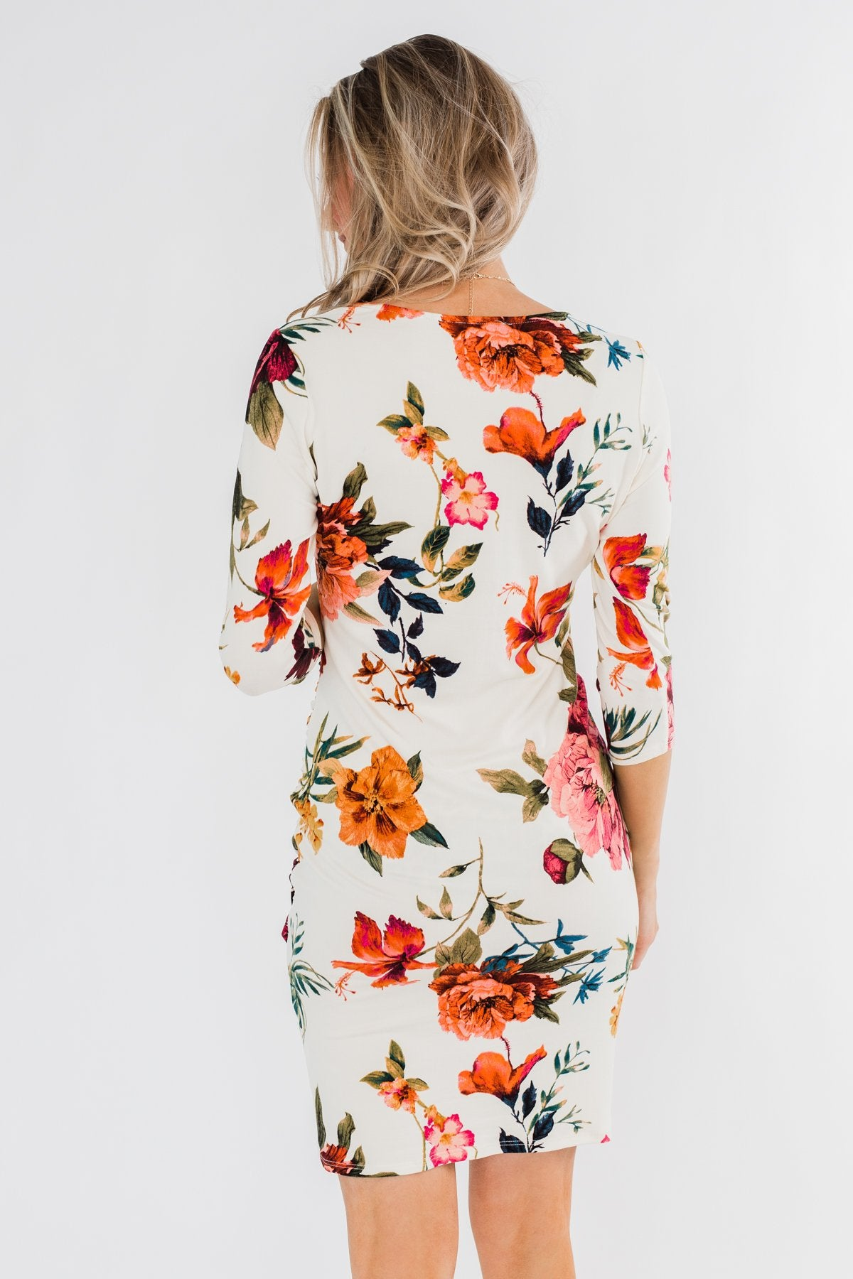 Captivating In Floral Dress- Cream