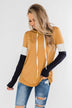 You And I Long Sleeve Hoodie- Mustard & Navy