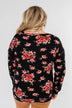 Never Alone Long Sleeve Floral Top- Black