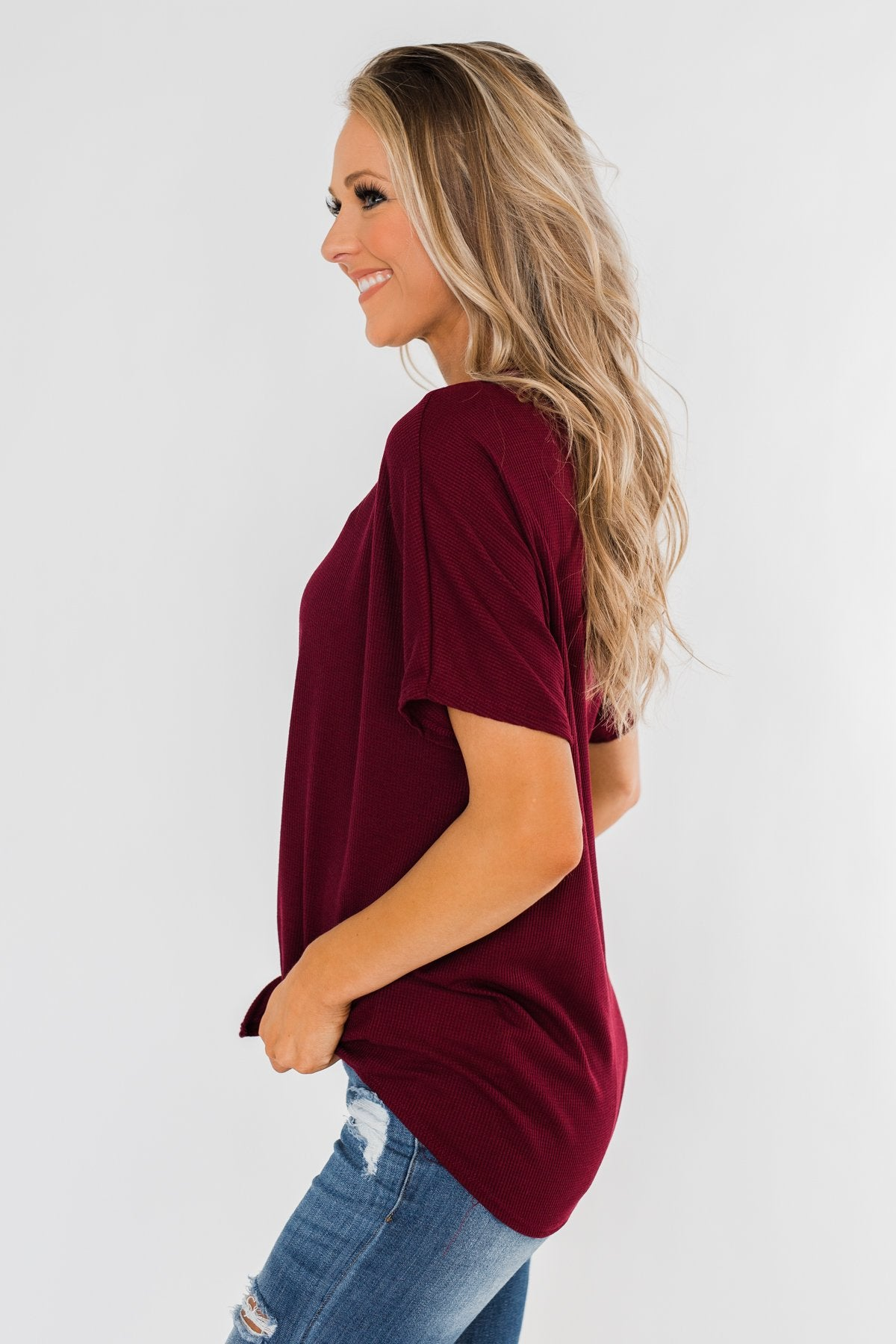 Looking Good Thermal Short Sleeve Top- Burgundy