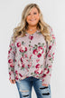 Long Sleeve Floral Wrap Top- Mauve