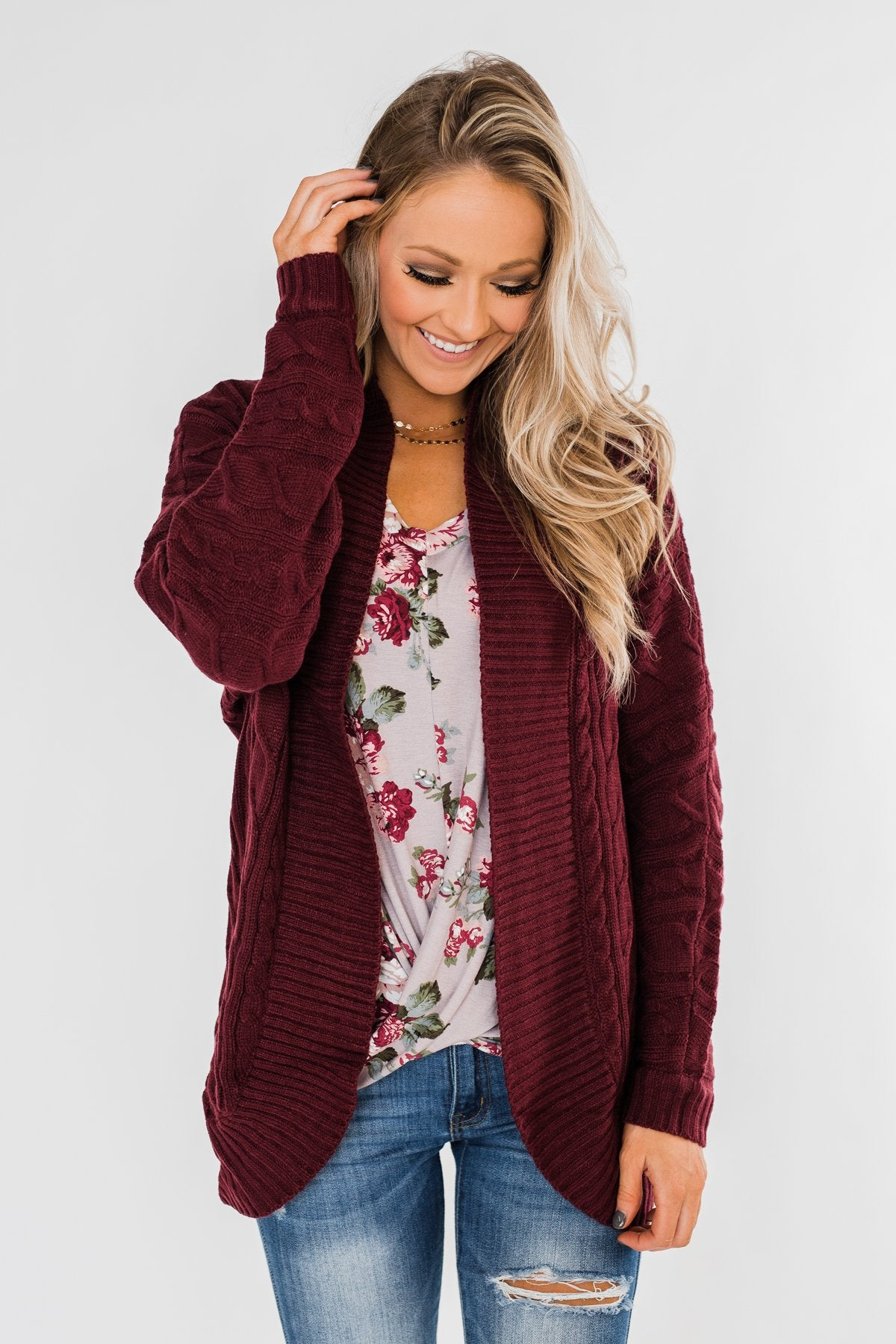 Noticing You Cable Knit Cardigan- Burgundy