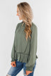 Say You Won't Let Go Cinched Blouse- Olive