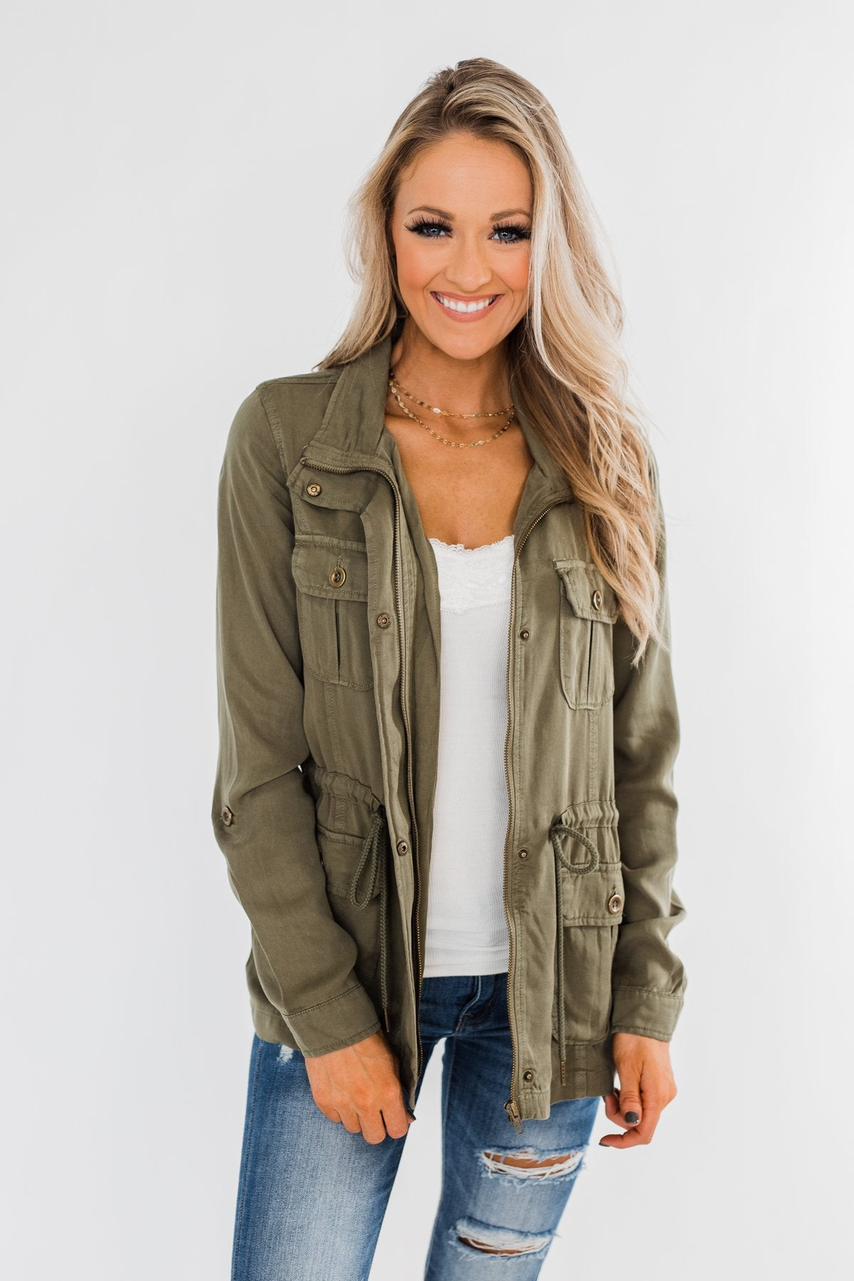 Carried Away Drawstring Waist Jacket- Olive