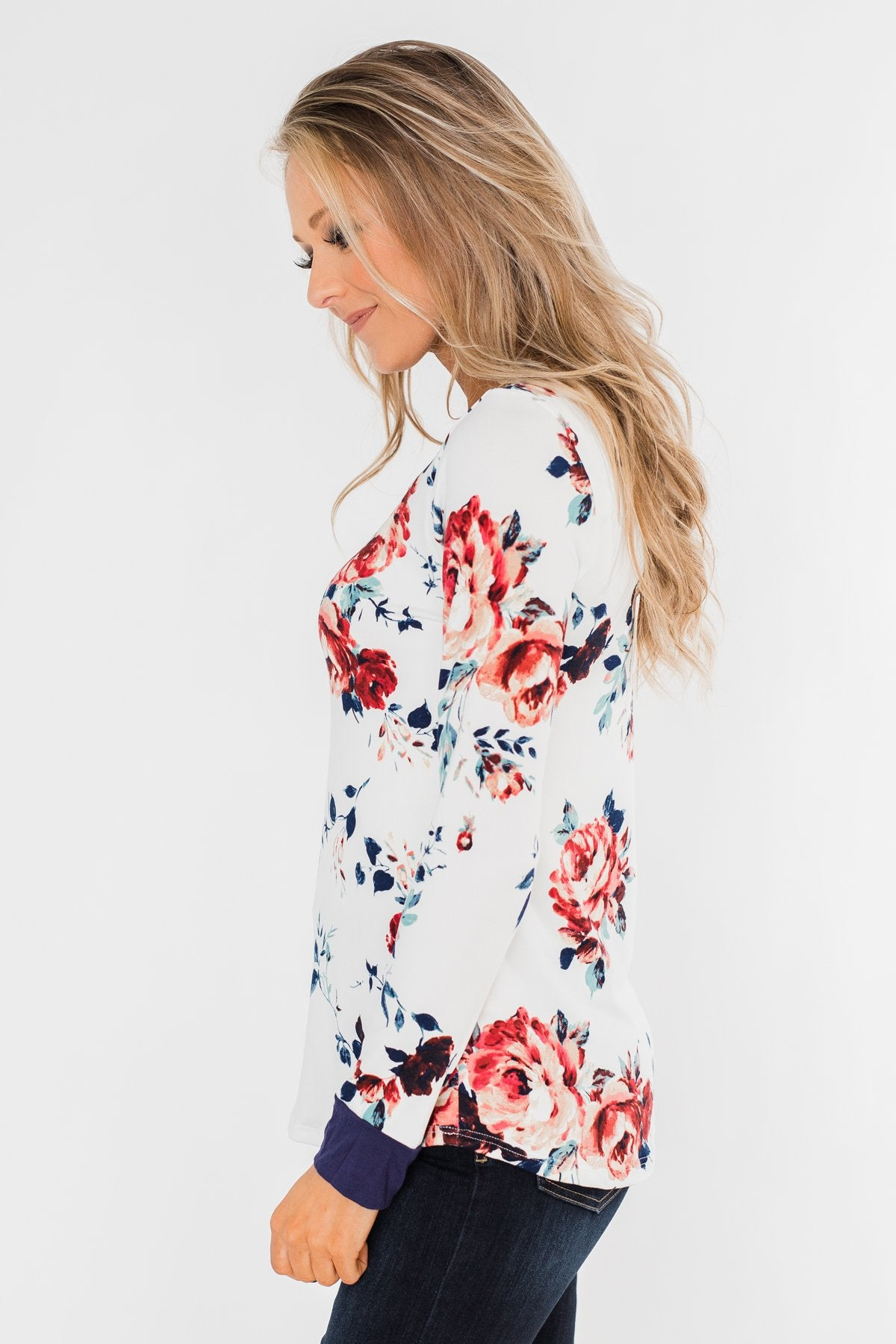 Field Of Flowers Criss Cross Top- Ivory & Navy