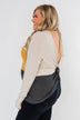 Away We Go Color Block Waffle Knit Top- Mustard & Charcoal