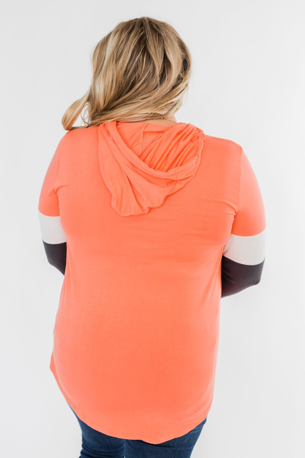 You And I Long Sleeve Hoodie- Coral & Charcoal