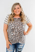 Striped Leopard Front Knot Top- Beige & Neon Orange