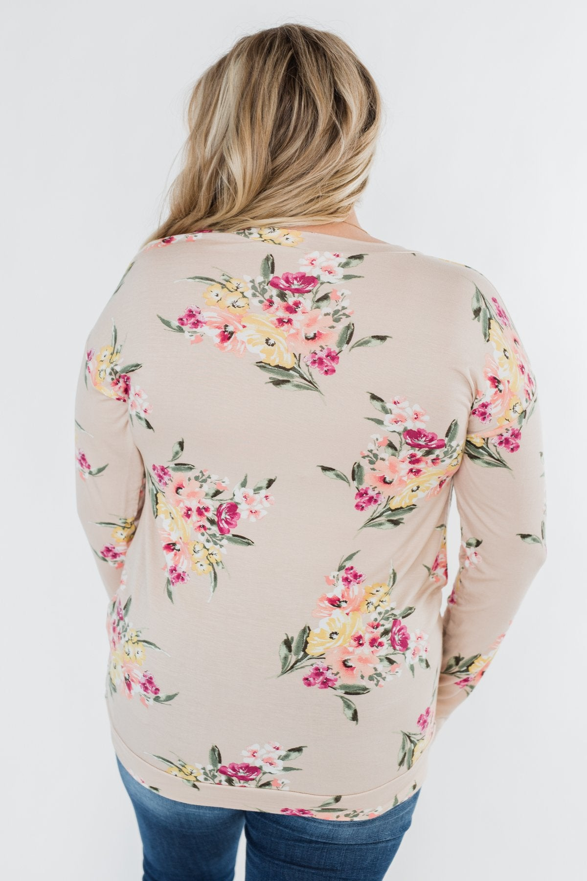 All The Love Floral Twist Top- Light Peach