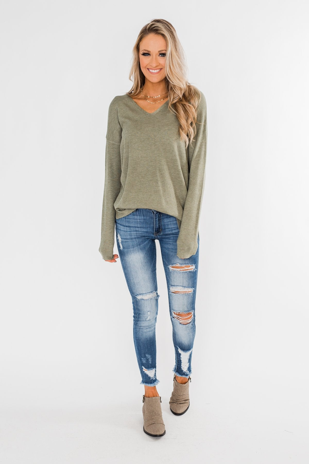 No One Like You Sweater- Olive