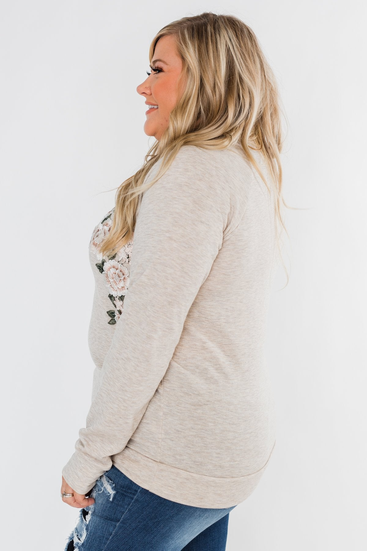 Floral Appliqué Pullover Top- Heathered Oatmeal