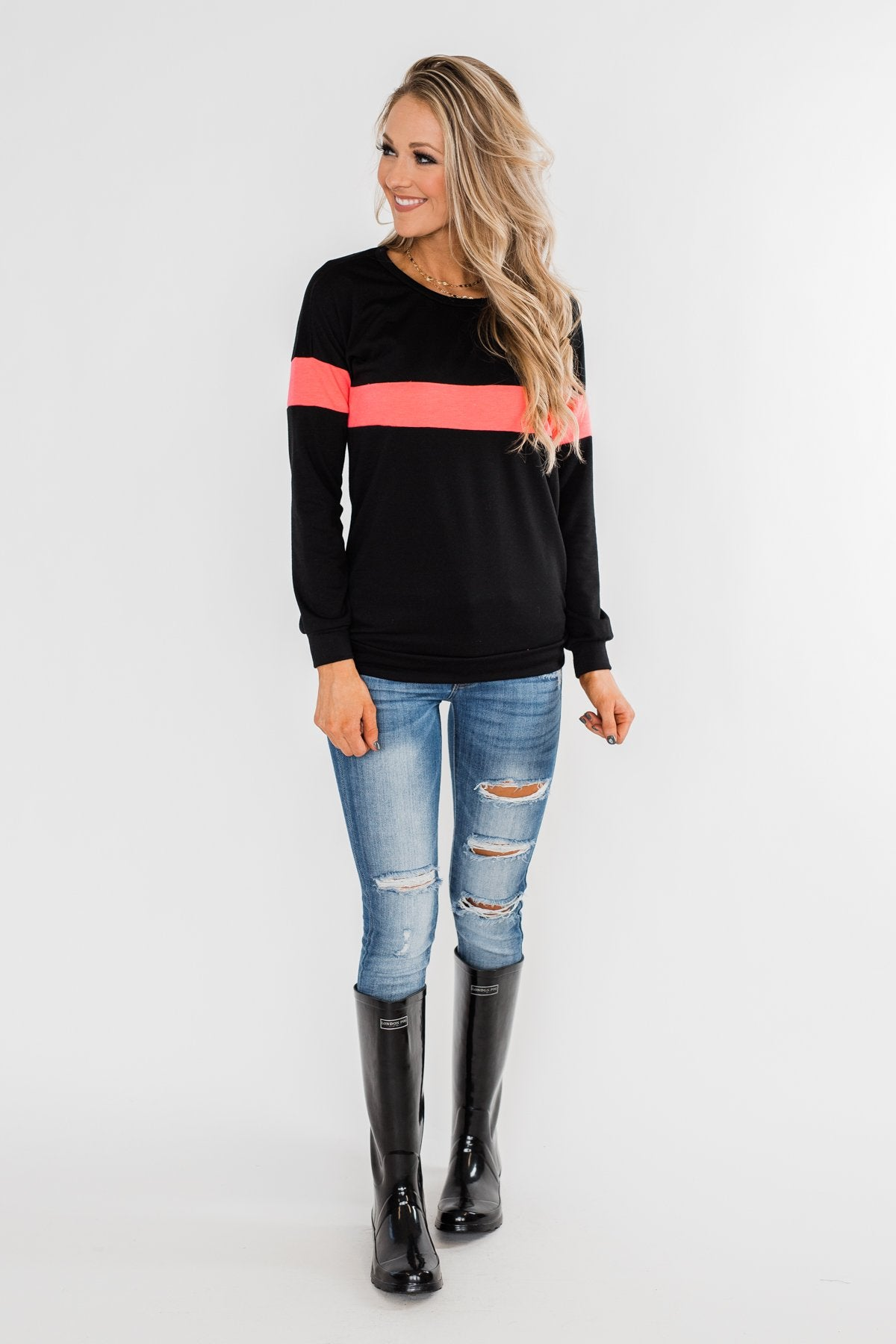 Make No Mistake Long Sleeve Top- Black & Neon Pink