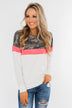 Best Foot Forward Long Sleeve Top- Camo, Neon pink, & Ivory