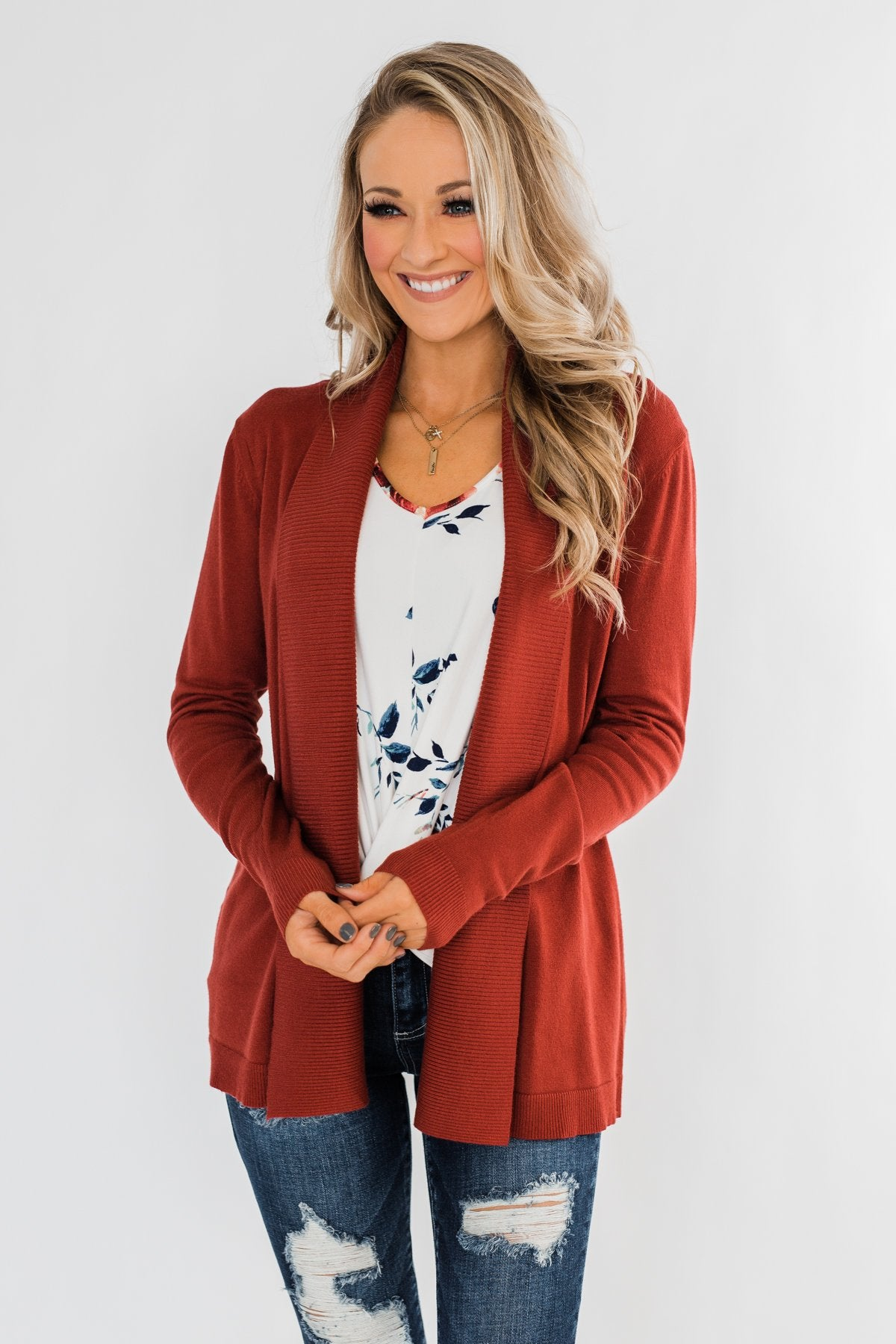 Can't Wait Open Front Cardigan- Dark Rust