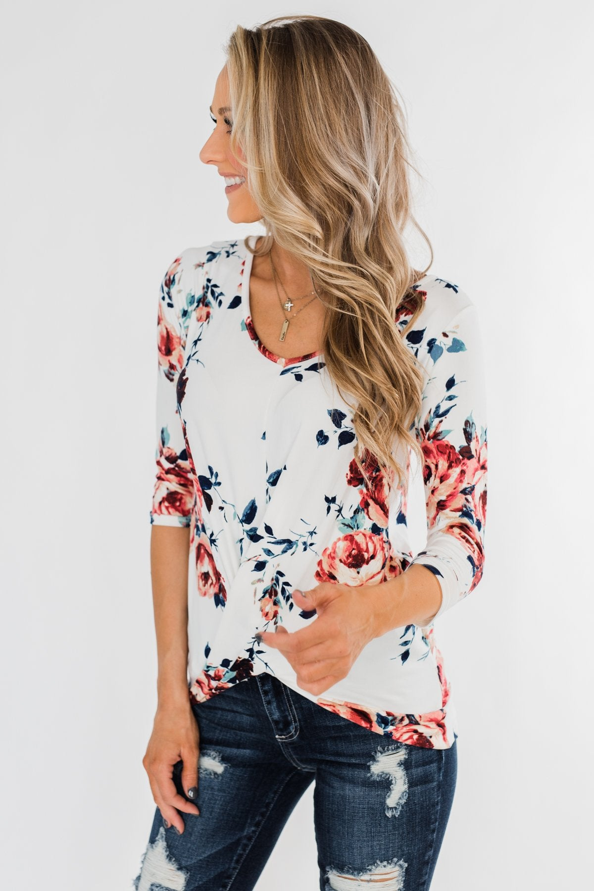 A Beautiful Day Floral Twist Top- Ivory