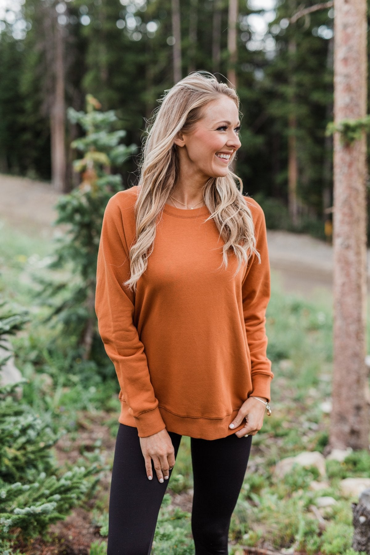 Pulse Basics Crew Neck Pullover- Rust