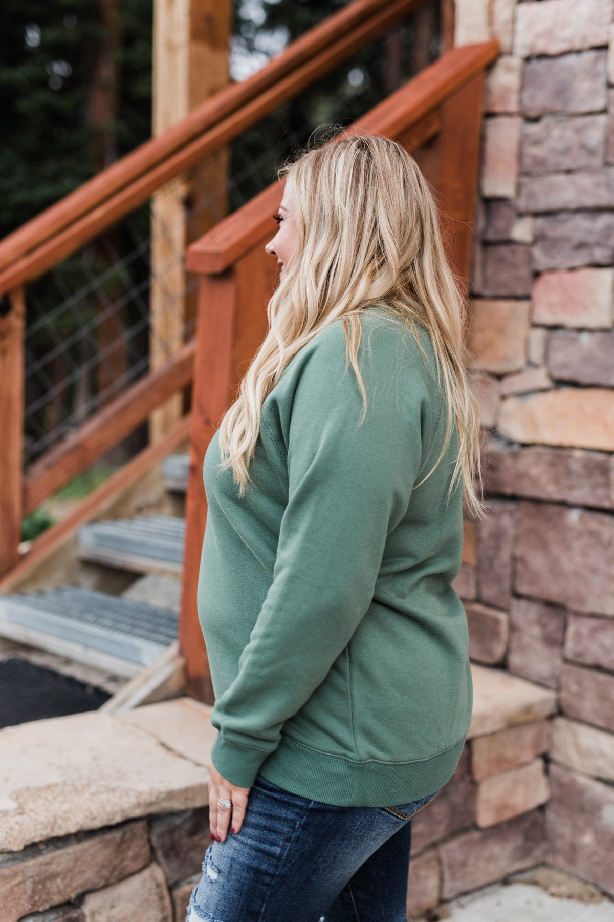 Pulse Basics Crew Neck Pullover- Dark Sage