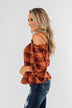 Give You My Best Shot Plaid Top- Rust & Burnt Orange