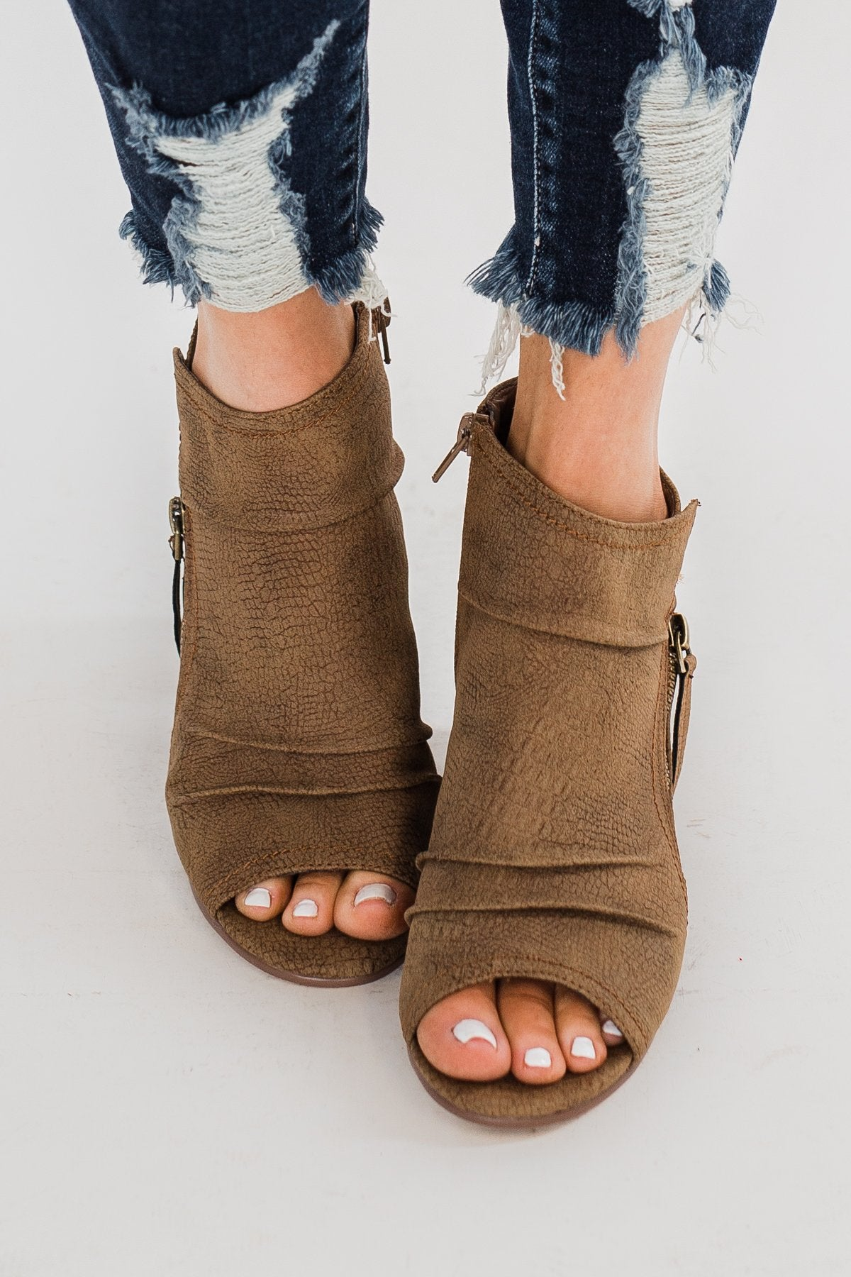Very G Wonderlust Peep Toe Booties- Tan