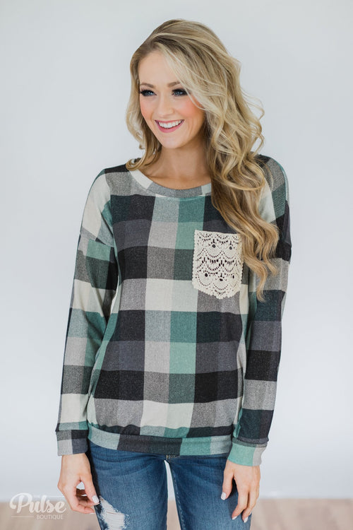 Checkered Pullover Pocket Top- Mint & Navy