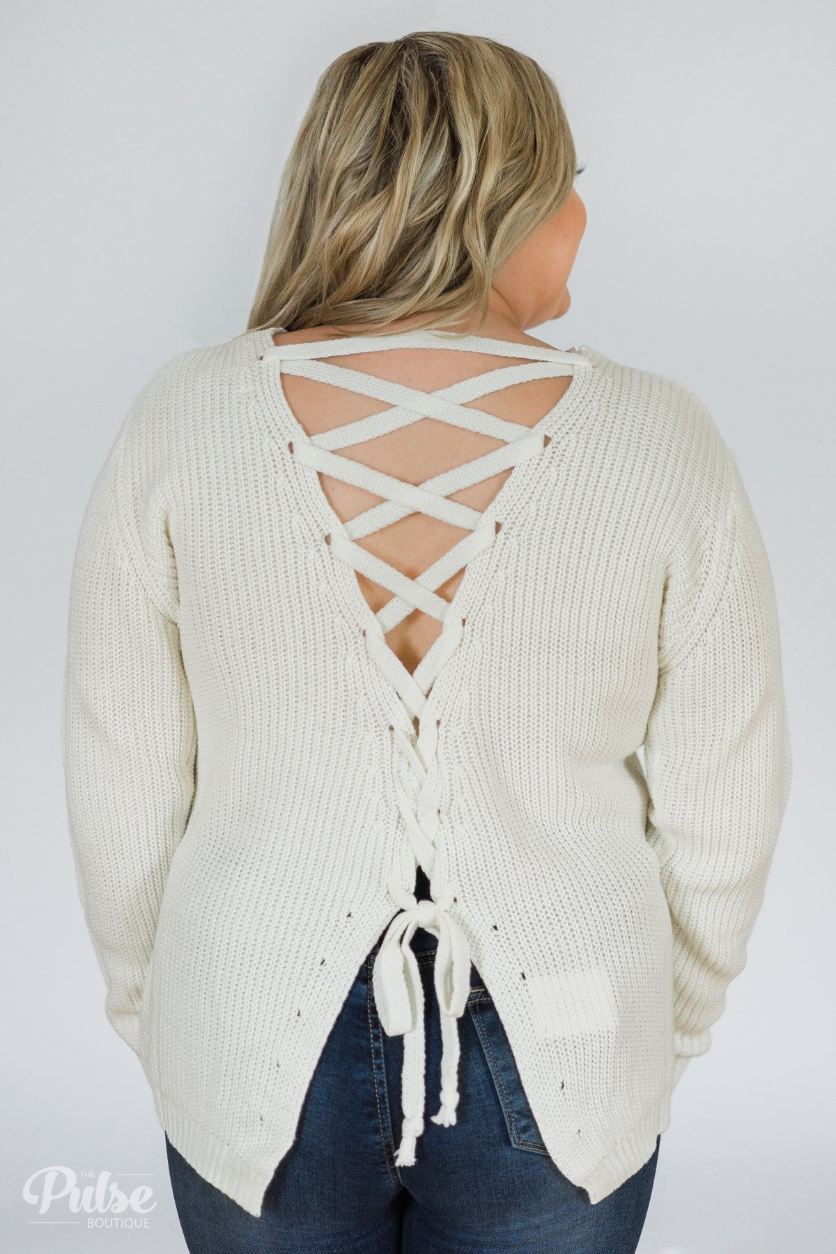 Fixed on You Lace Down Back Knitted Sweater- Ivory