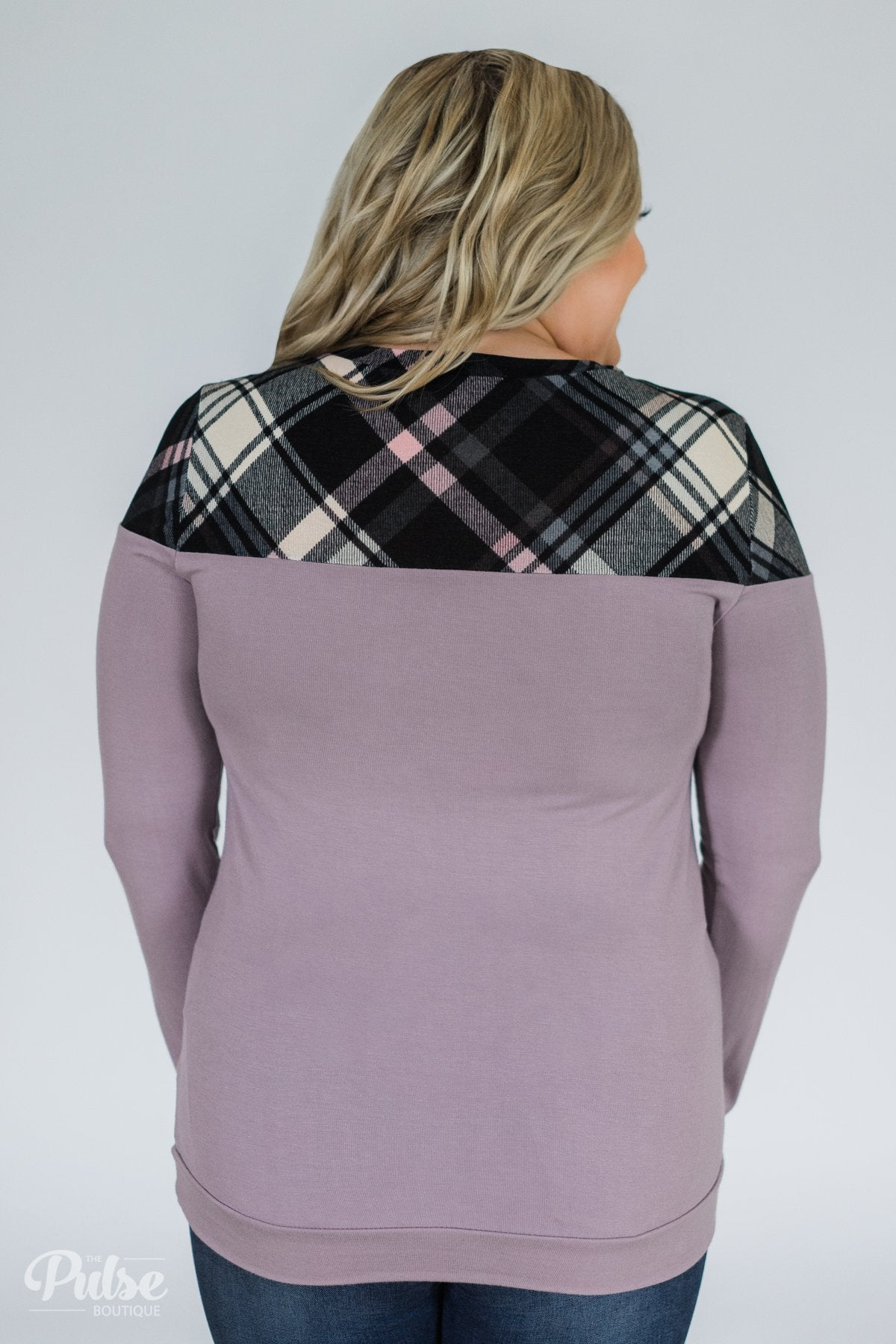 Lavender & Plaid Long Sleeve Top