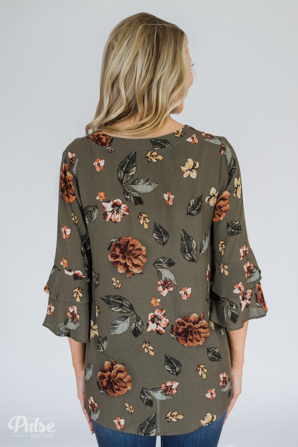 Fall Florals Blouse- Olive