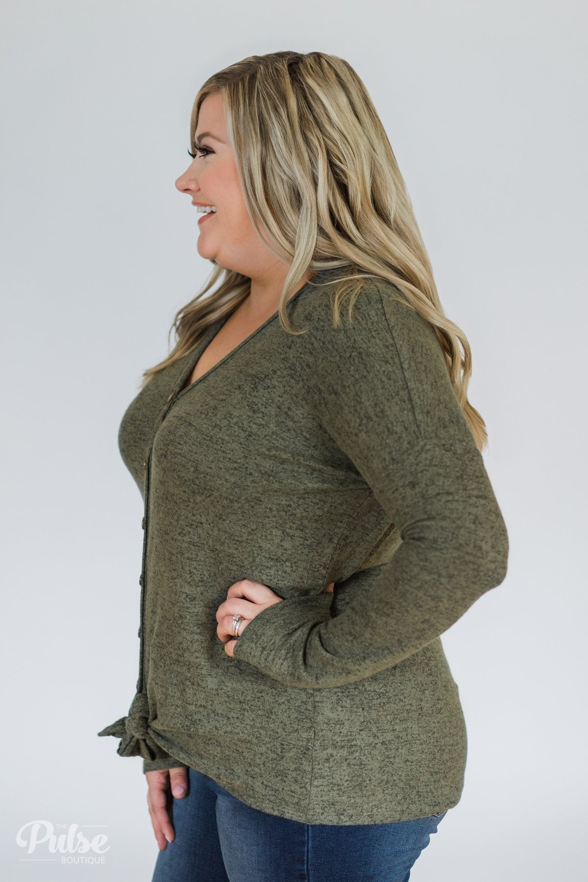 Dearly Loved Button Down Top- Olive