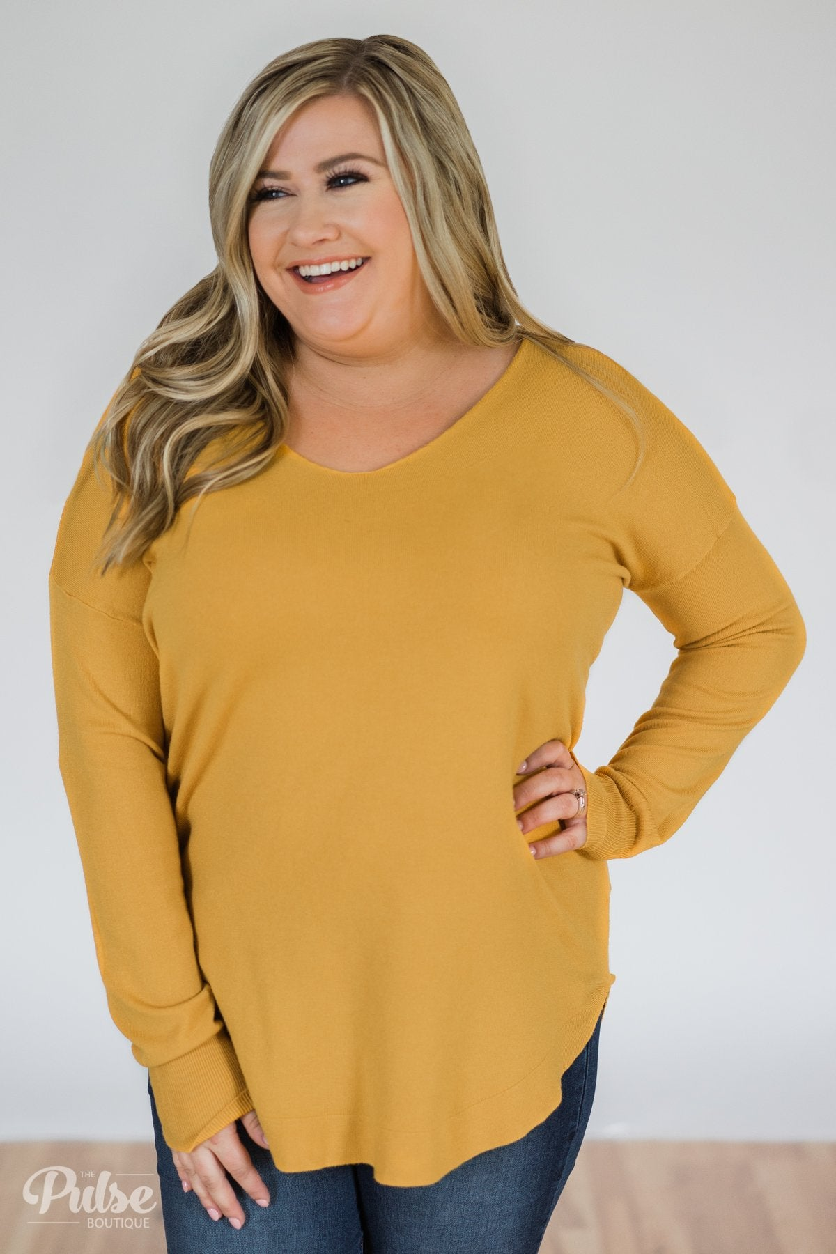 Soft Bliss Lace Down Back Sweater- Honey Yellow