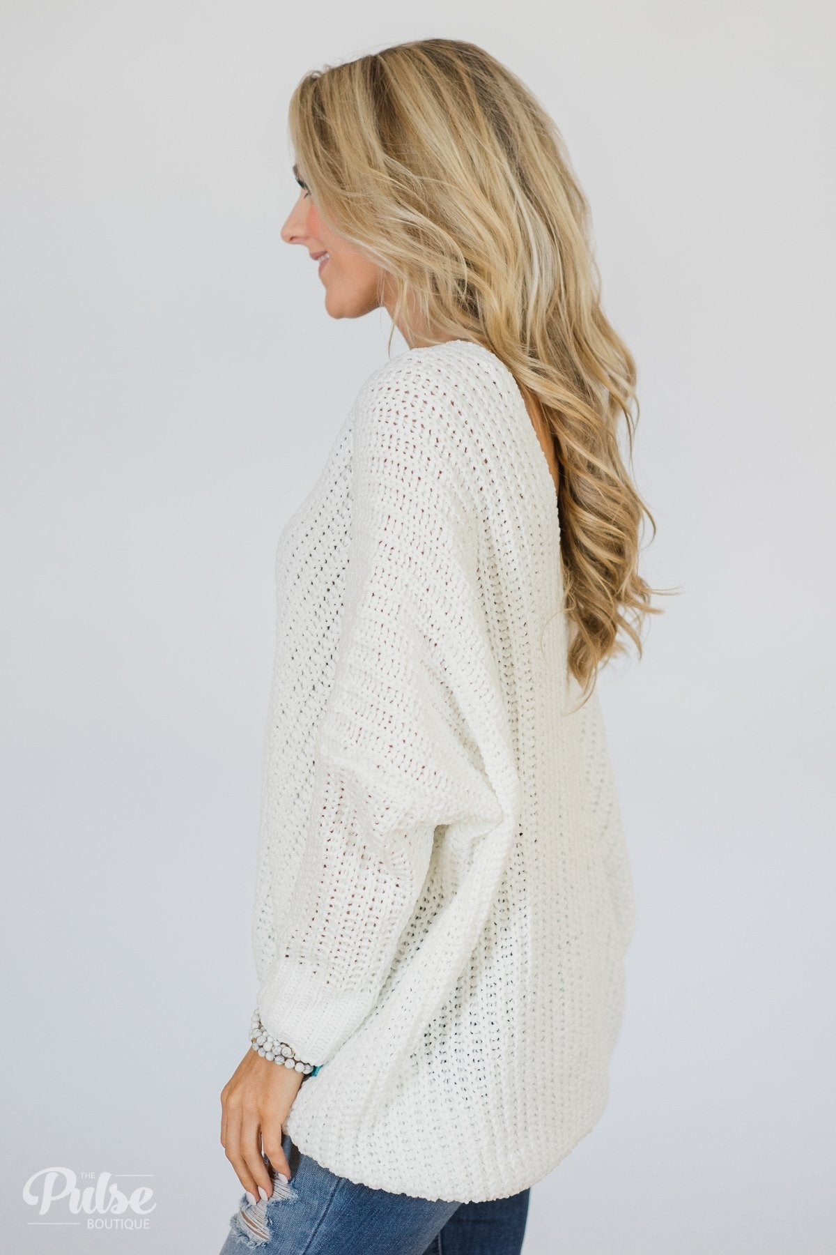 Softly Knitted Chunky Sweater- White