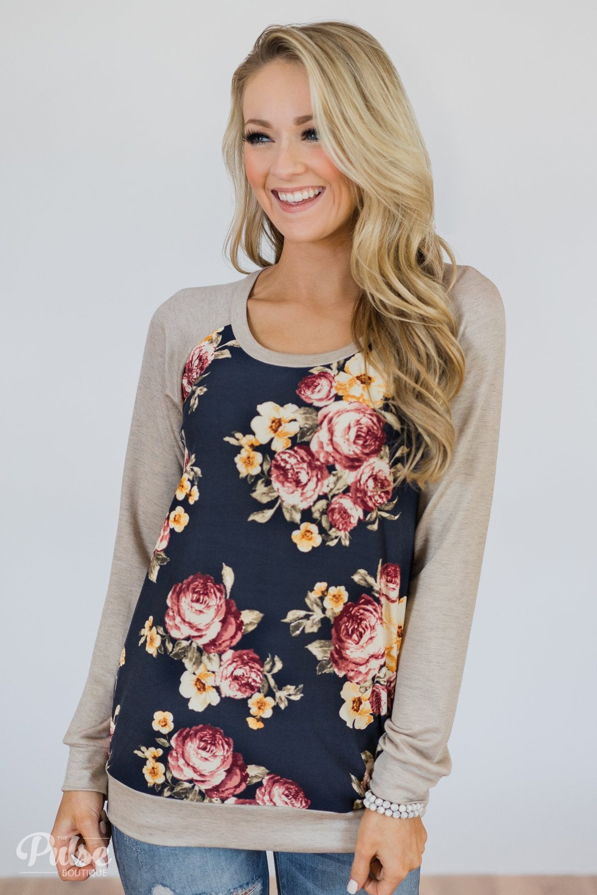 Always Room for Floral Top- Navy & Oatmeal