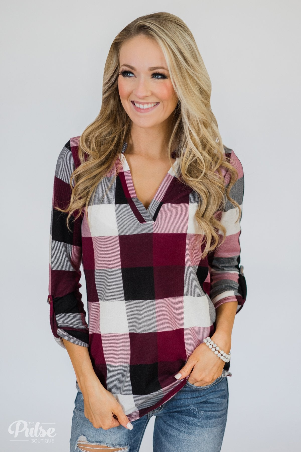 4b408aab0b7 Sincerely Me Plaid V-Neck Top- Burgundy – The Pulse Boutique