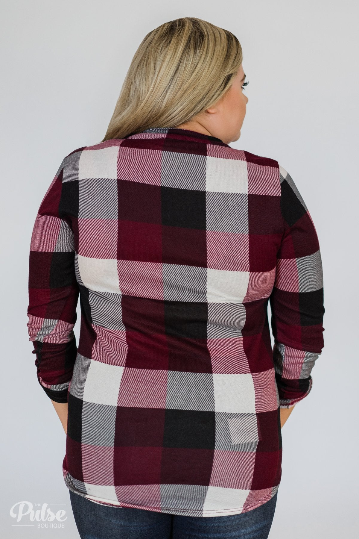 Sincerely Me Plaid V-Neck Top- Burgundy